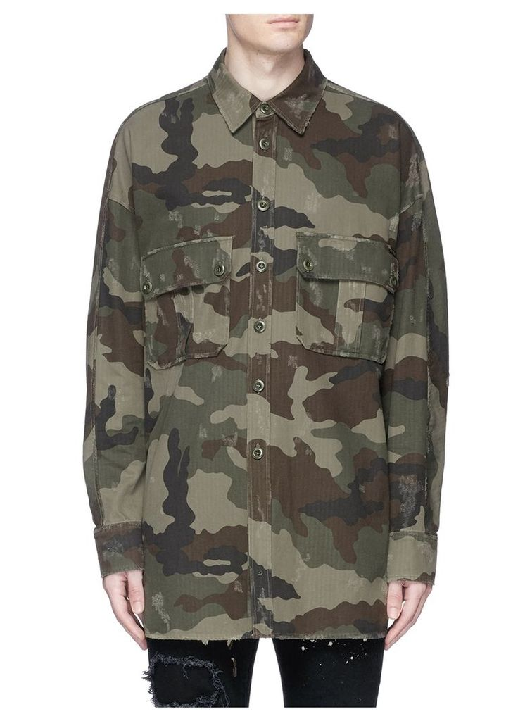 Camouflage print distressed cotton coat