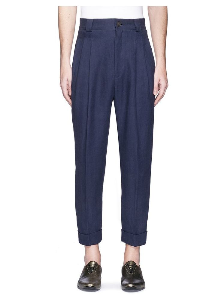 Pleated high waist cropped linen pants