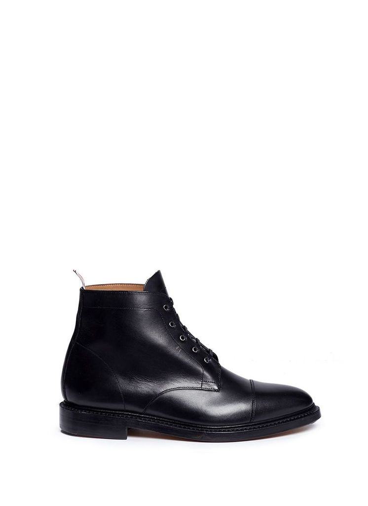Cap toe leather Derby boots