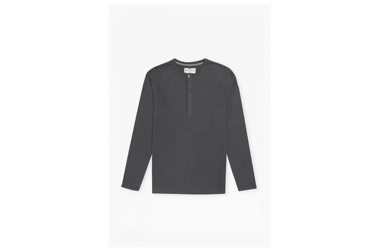 Plain Henley Long Sleeve Top - charcoal