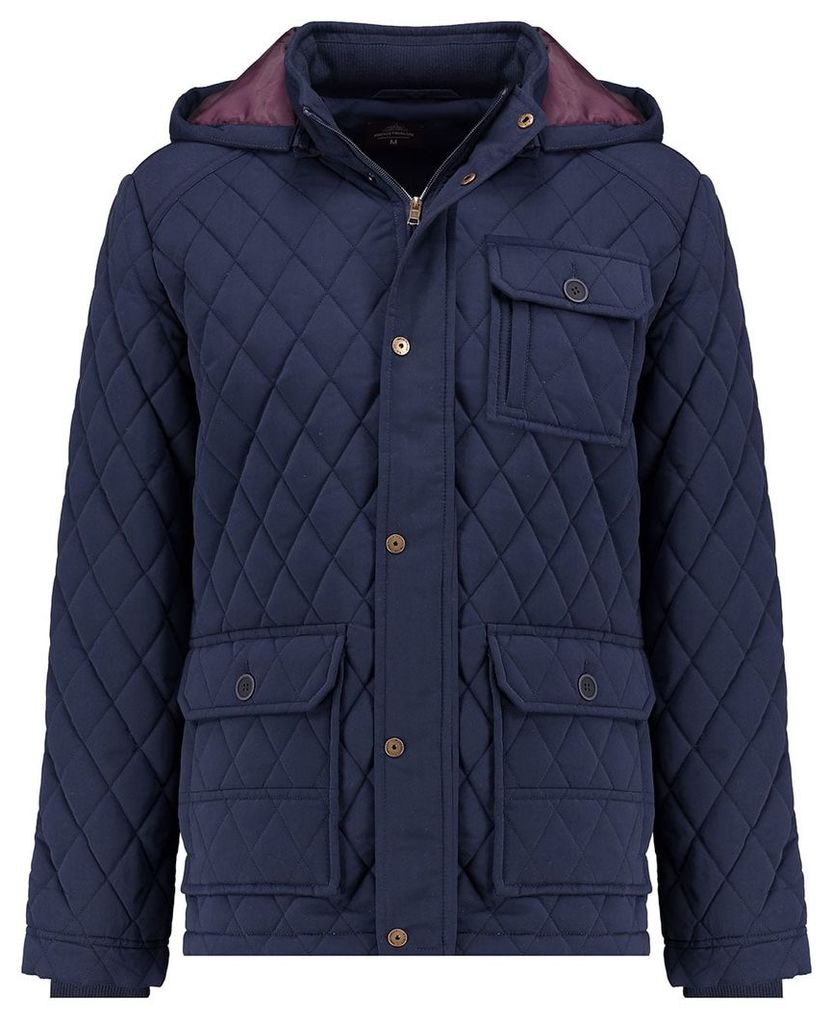 Men's Blue Inc Navy Diamond Stitch Hooded Jacket, Blue