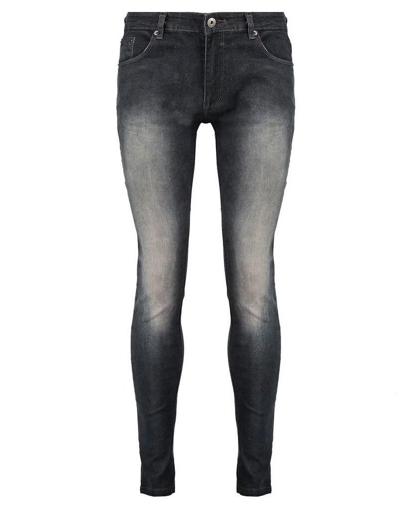Men's Blue Inc Black Washed Effect Skinny Denim Jeans, Black