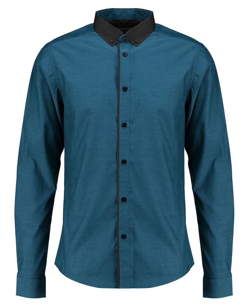 Men's Blue Inc Teal Long Sleeve Tonic Pipe Formal Shirt, Blue