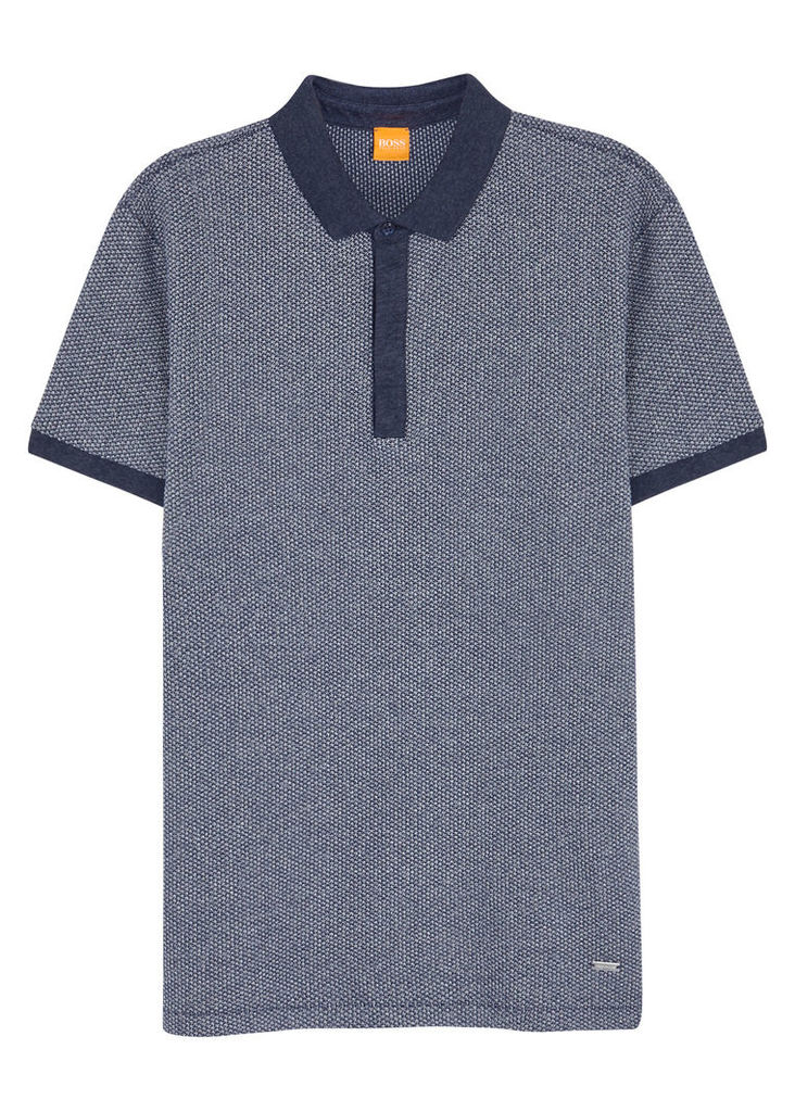 Persys dark blue textured polo shirt