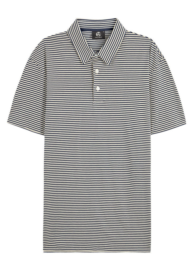 Navy striped cotton polo shirt