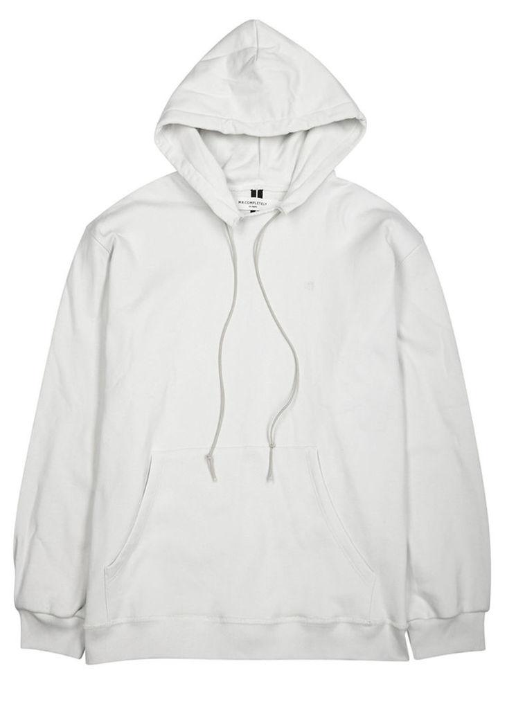 Off white hooded cotton sweatshirt