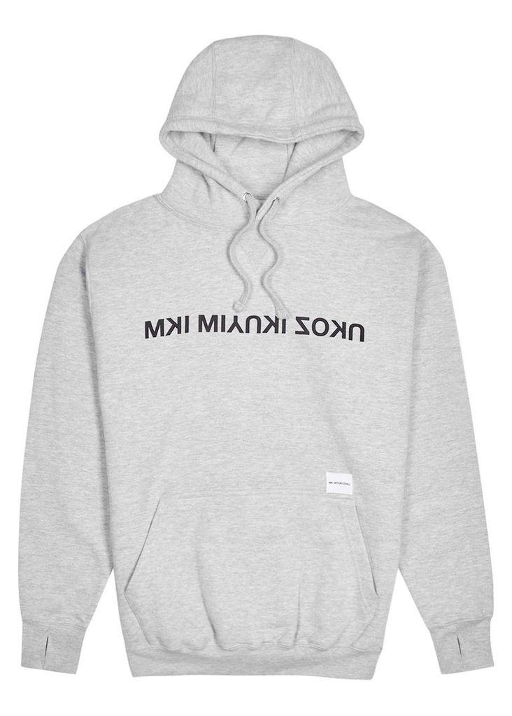 Grey hooded cotton blend sweatshirt