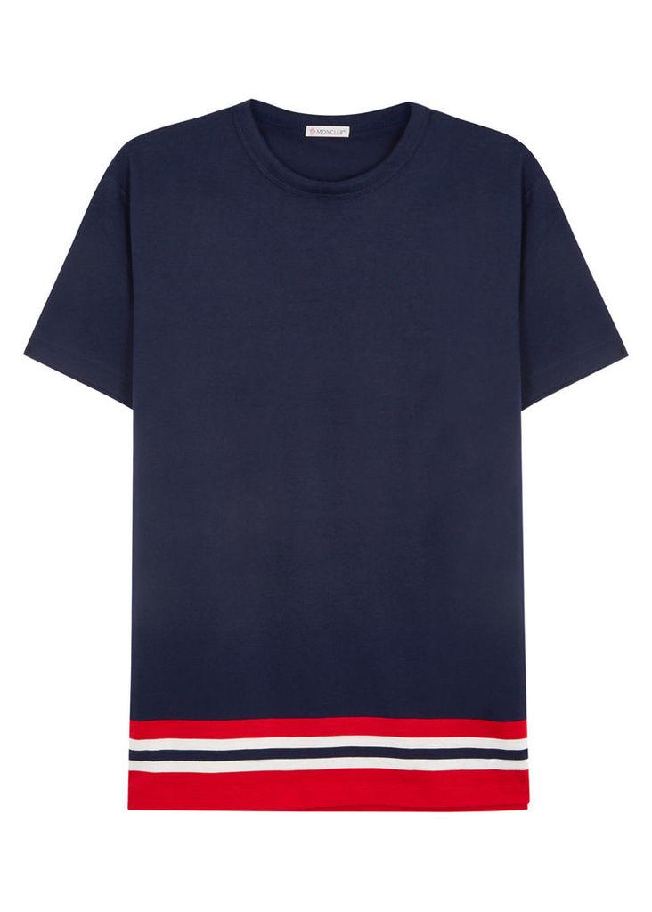 Navy striped cotton T-shirt