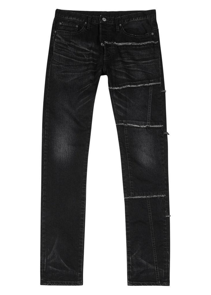 Black frayed slim-leg jeans