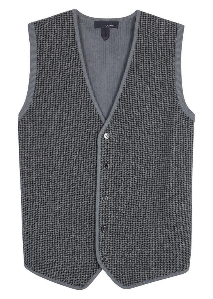 Grey knitted cotton waistcoat