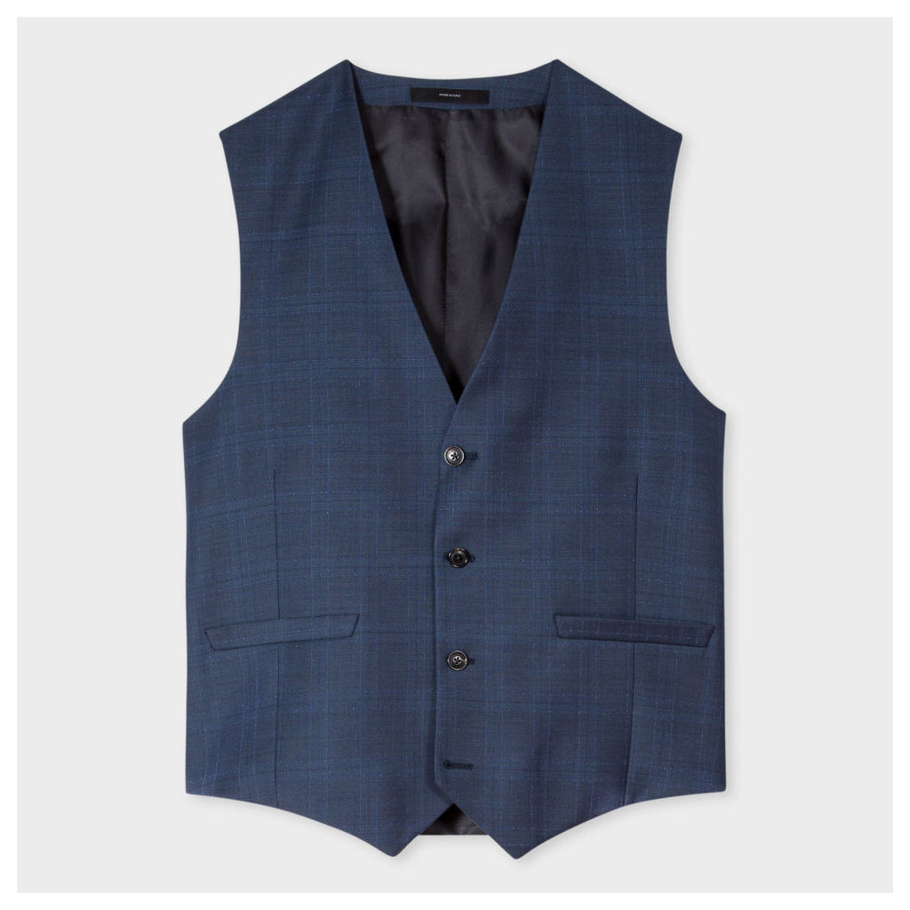 Men's Tailored-Fit Navy Subtle-Check Wool Waistcoat