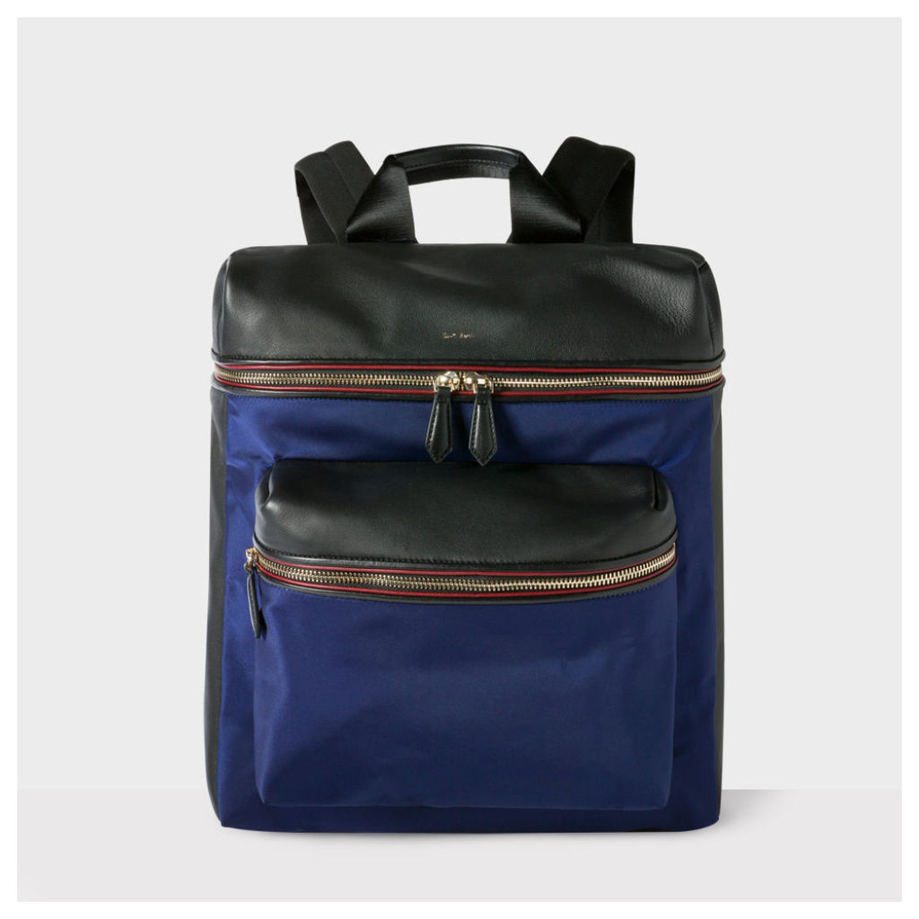 Men's Black And Blue Leather And Nylon Backpack