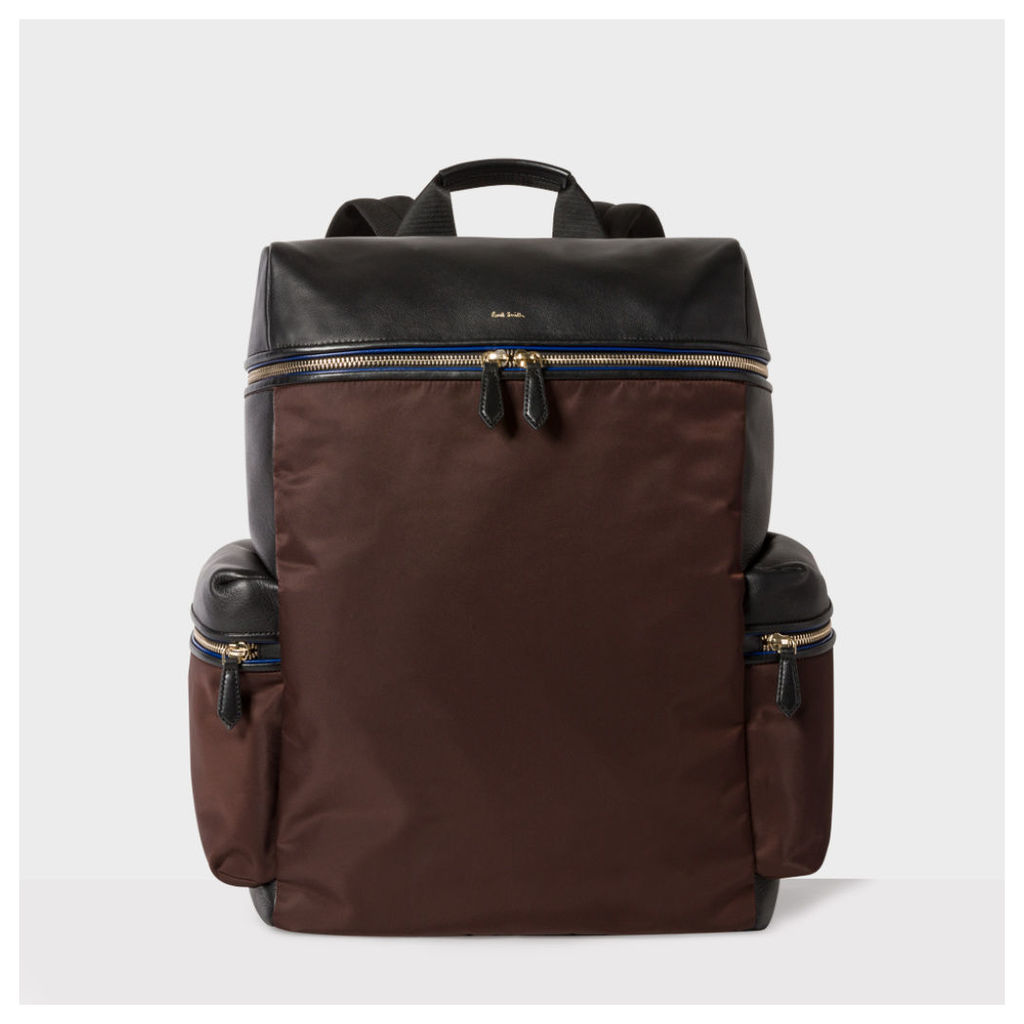 Men's Black And Brown Leather And Nylon Backpack
