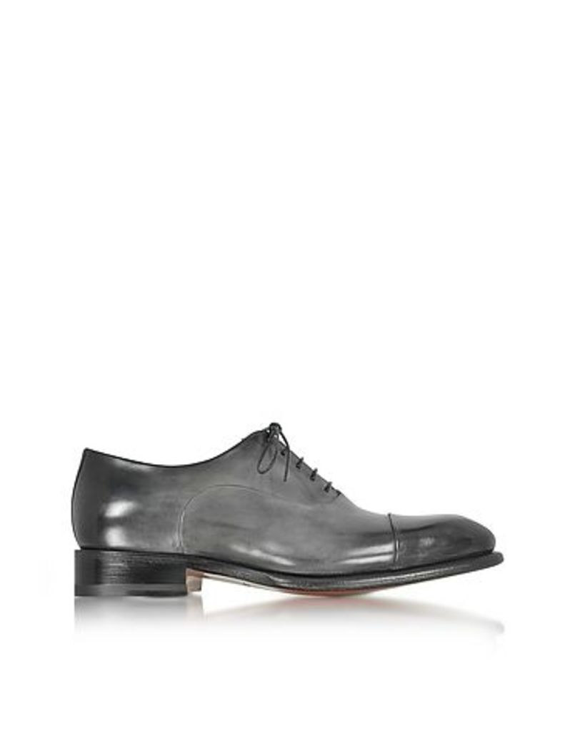 Santoni - Classic Light Shaded Gray Leather Oxford Shoes