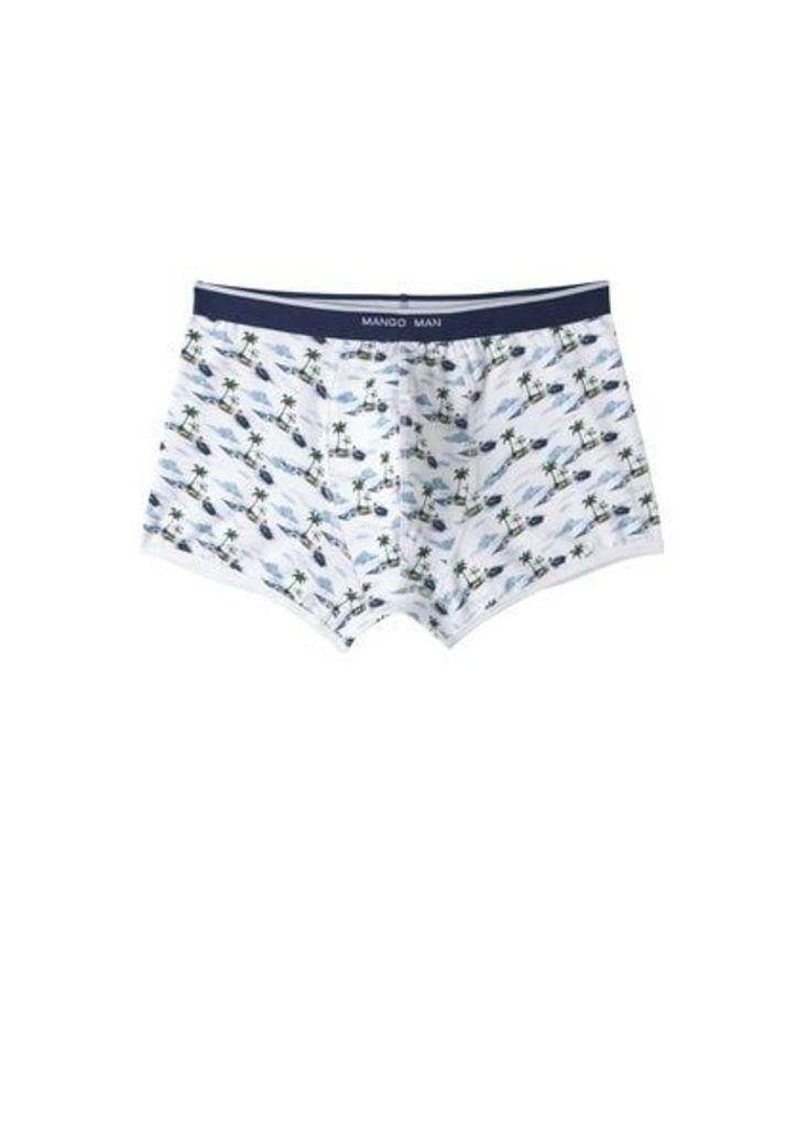 Palm-print cotton boxer shorts