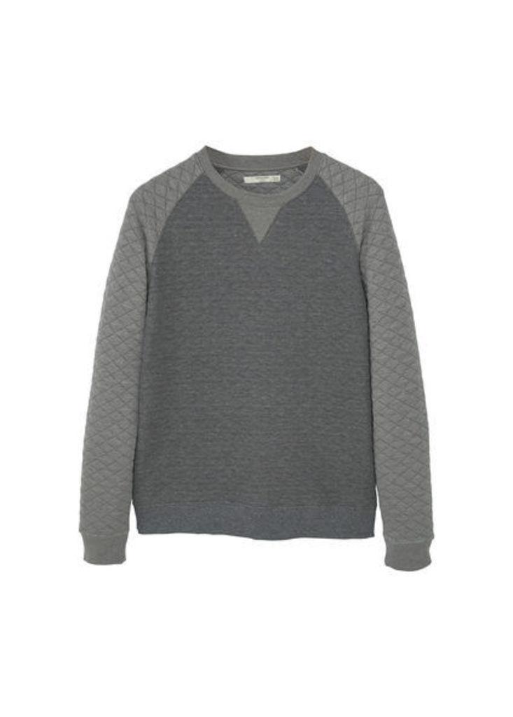Raglan-sleeve plush cotton sweatshirt