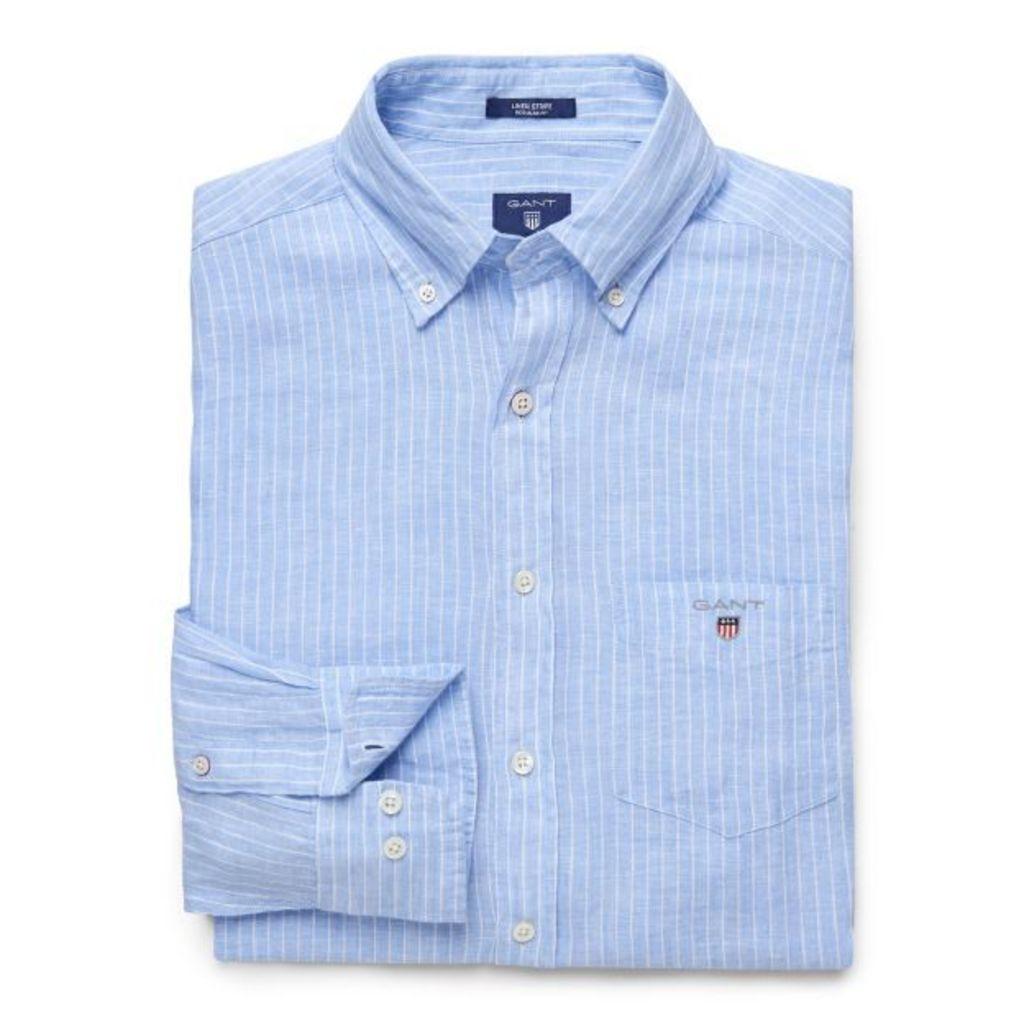 Linen Stripe Shirt - Capri Blue