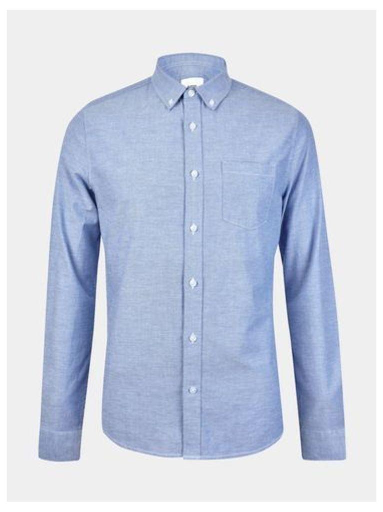 Mens Light Blue Long Sleeve Oxford Shirt, Blue