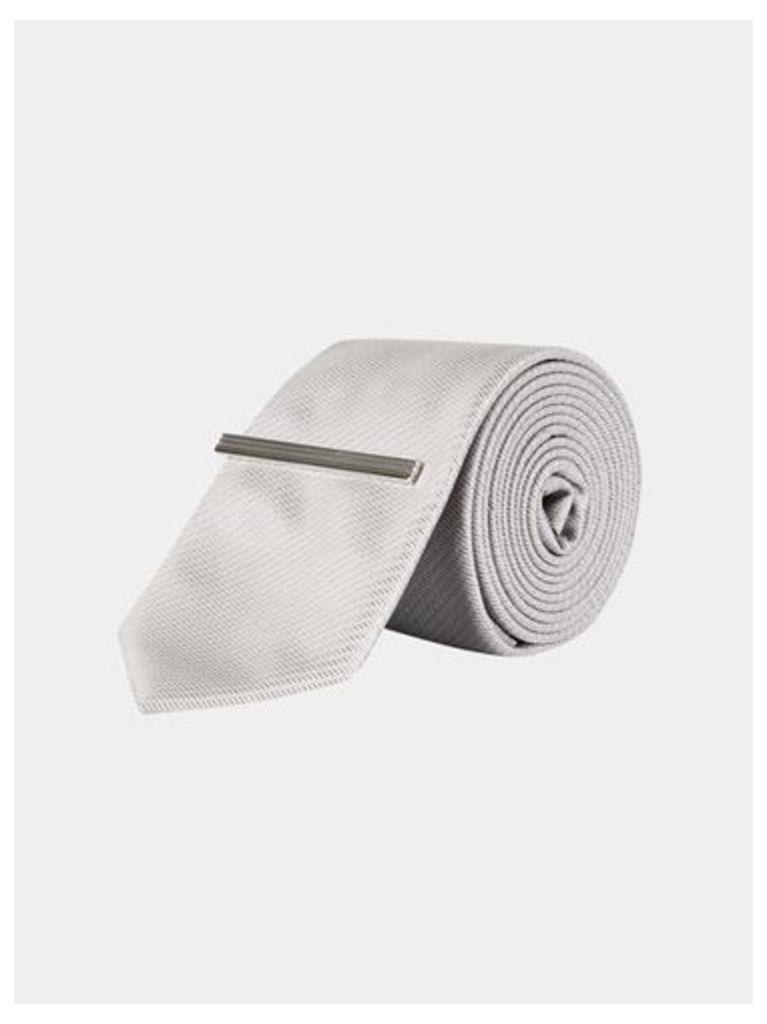 Mens Grey Textured Tie With Clip, Grey