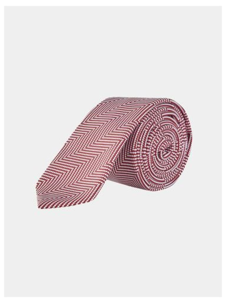 Mens Red Herringbone Tie With Clip, RED