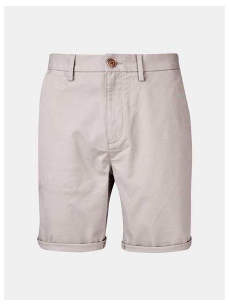 Mens Light Grey Chino Shorts, Grey