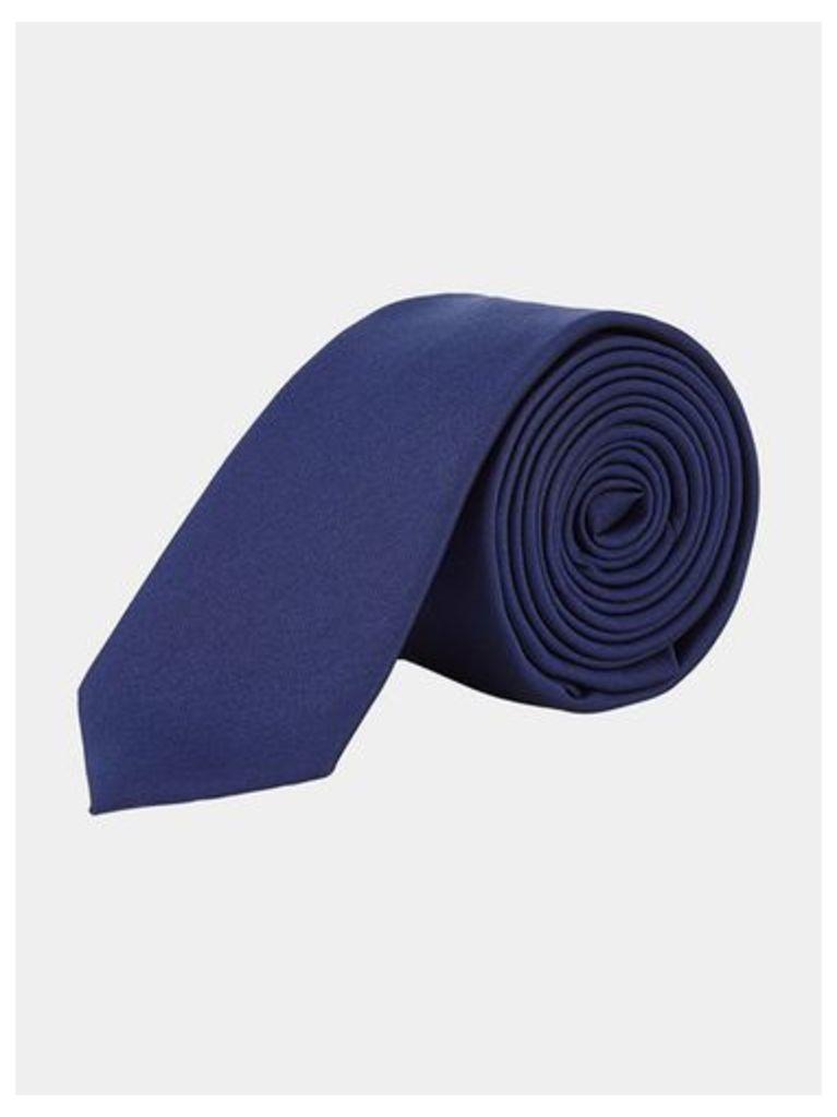 Mens Navy Blue Slim Plain Tie, Blue