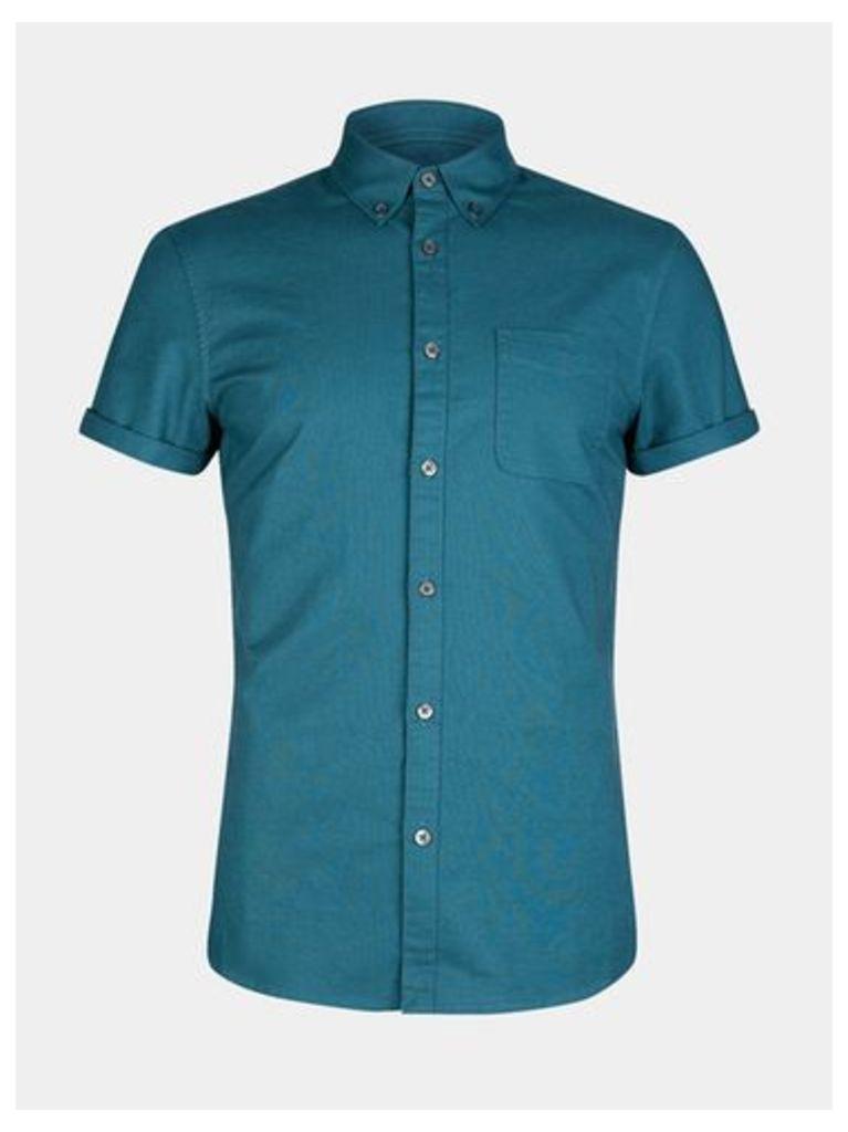 Mens Short Sleeve Bright Teal Oxford Shirt, Mid Green