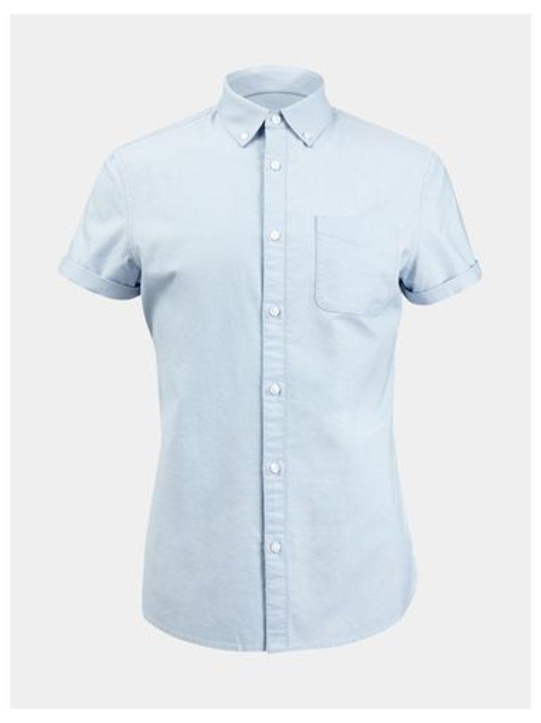 Mens Light Grey Short Sleeve Oxford Shirt, Grey