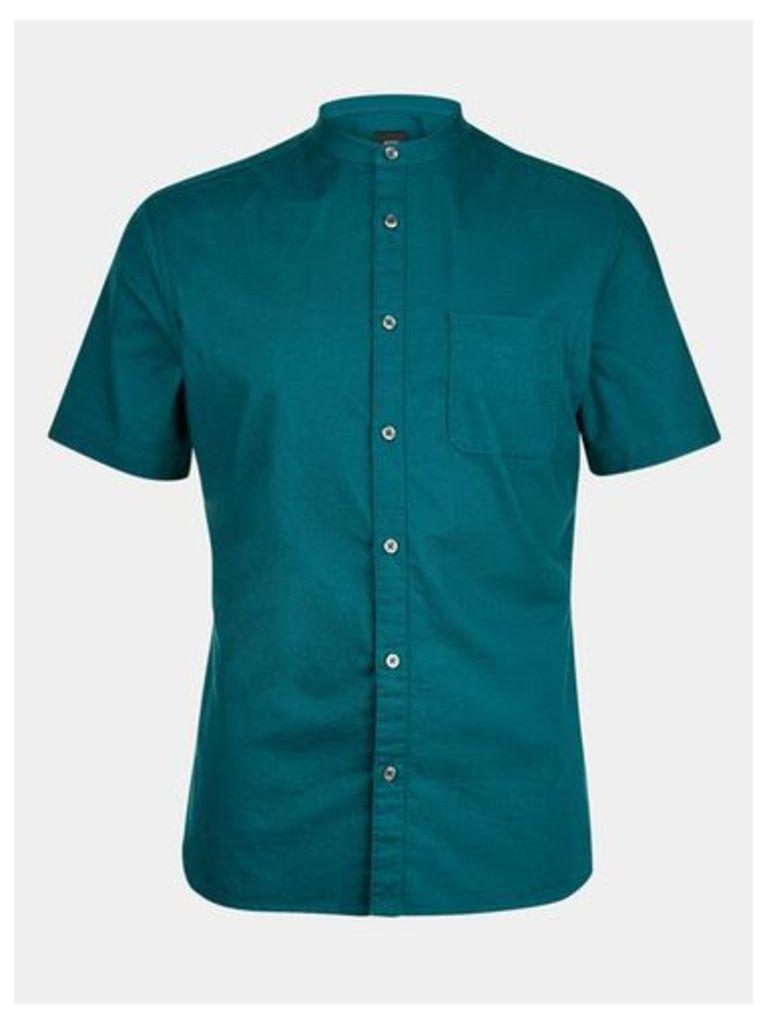 Mens Teal Short Sleeve Grandad Collar Shirt, TEAL