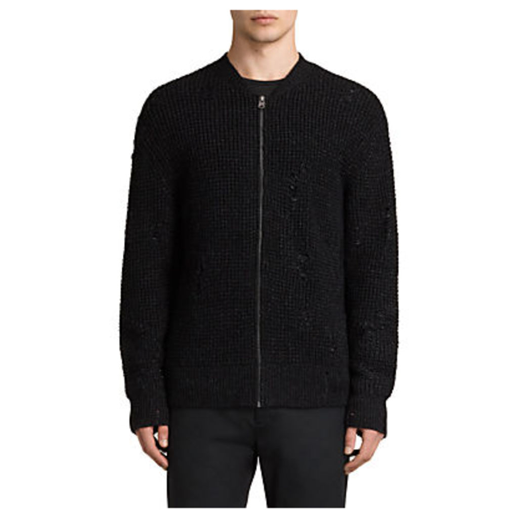 AllSaints Vektarr Zip Through Knitted Jumper, Black