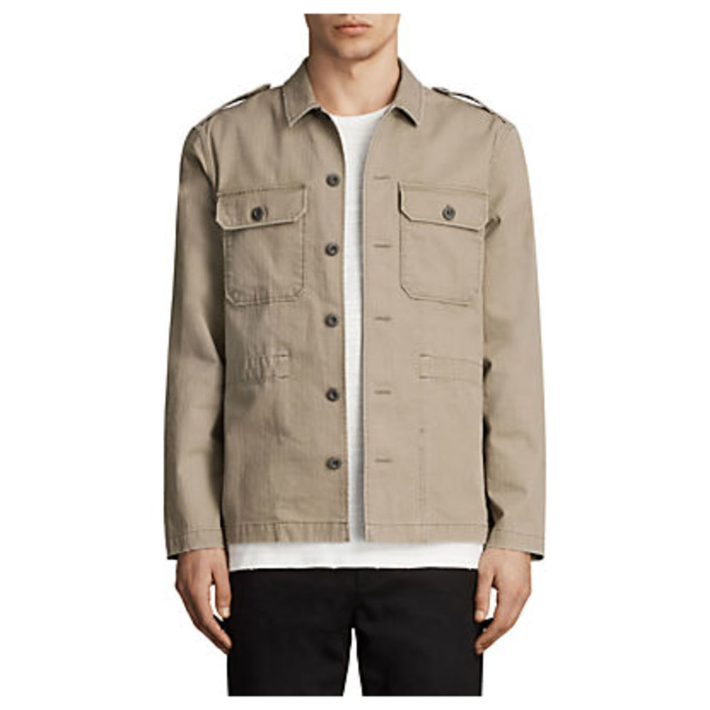 AllSaints Dieppe Long Sleeve Shirt, Olive Green