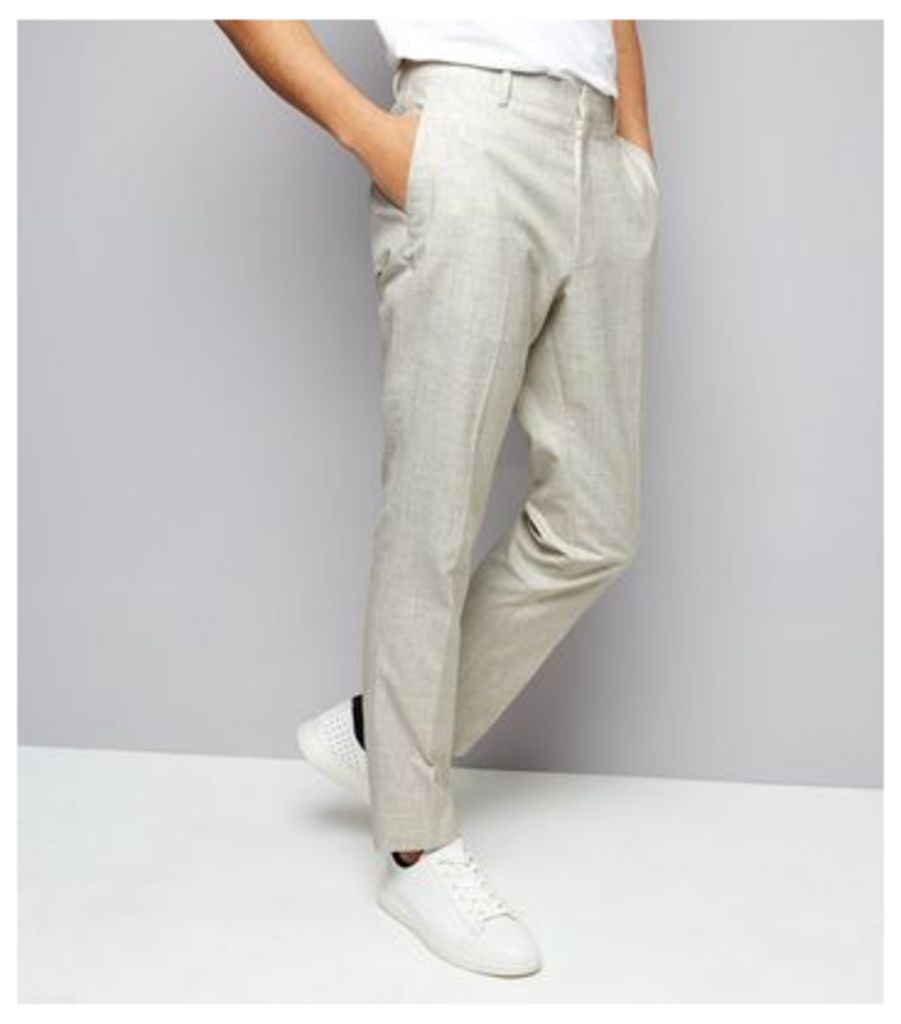 White Cross Hatch Tailored Trousers