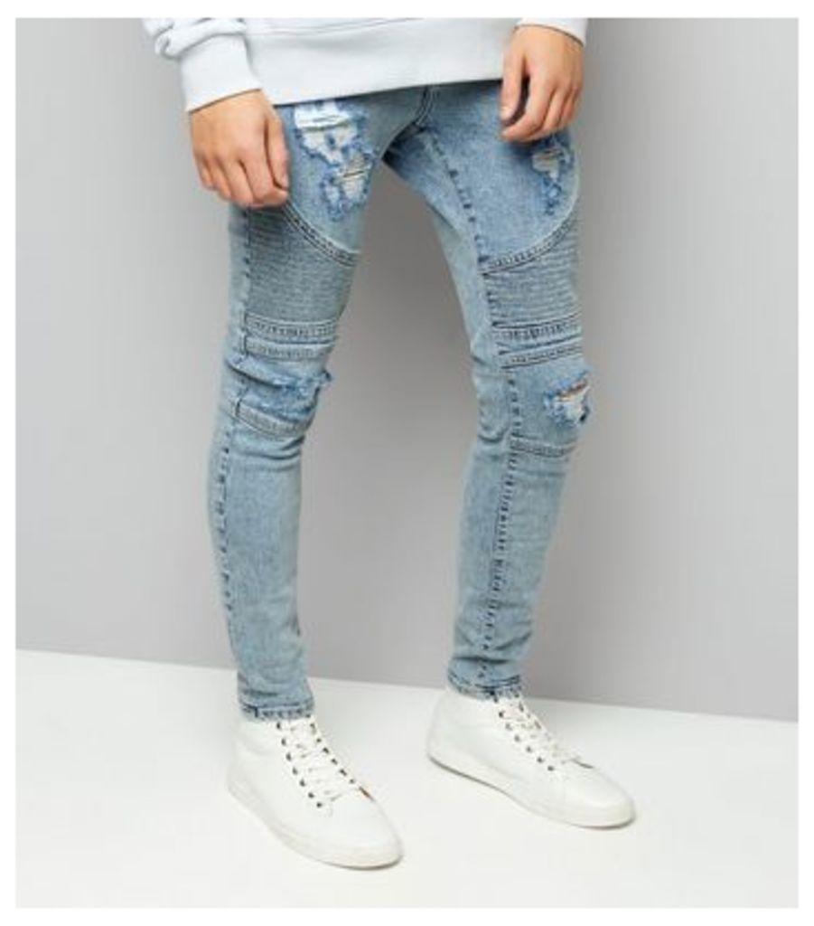 Pale Blue Light Wash Ripped Skinny Stretch Biker Jeans