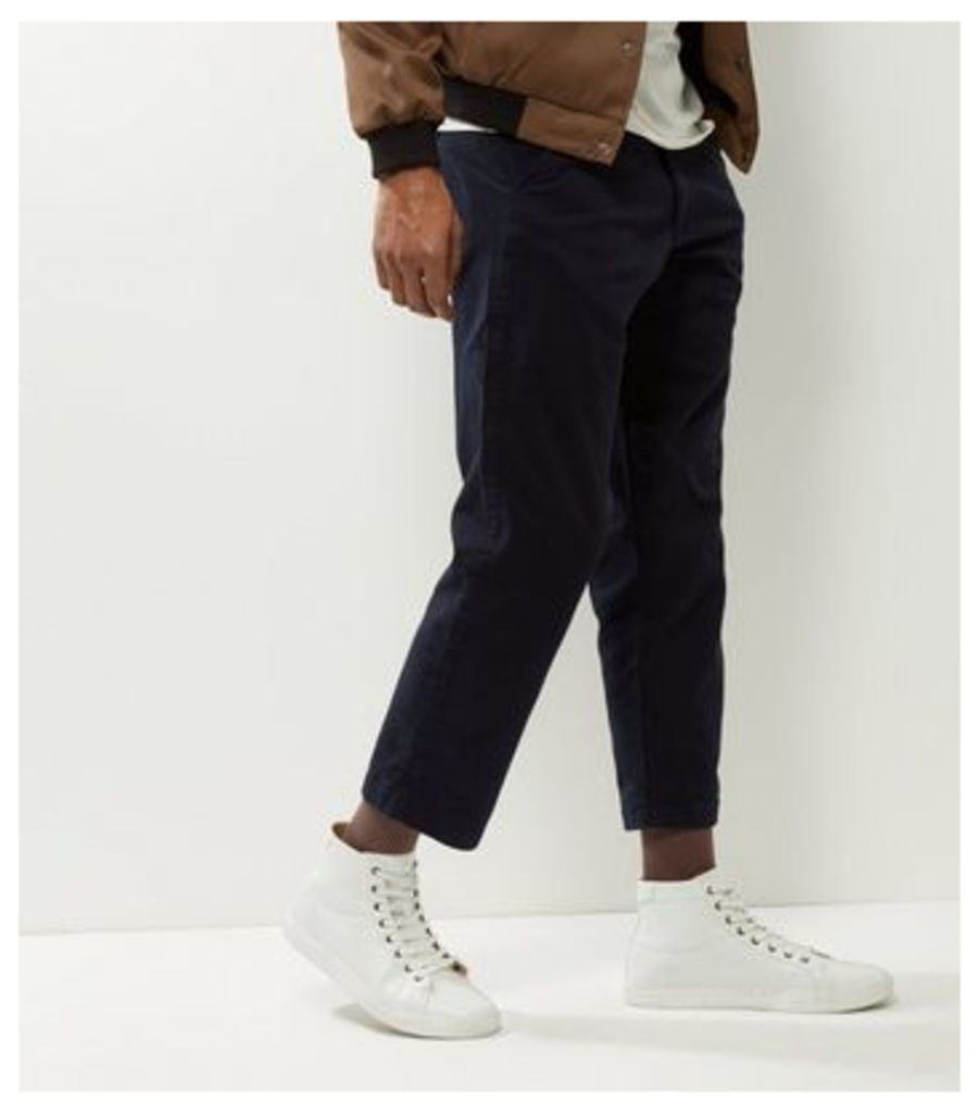 Navy Wide Leg Cropped Trousers