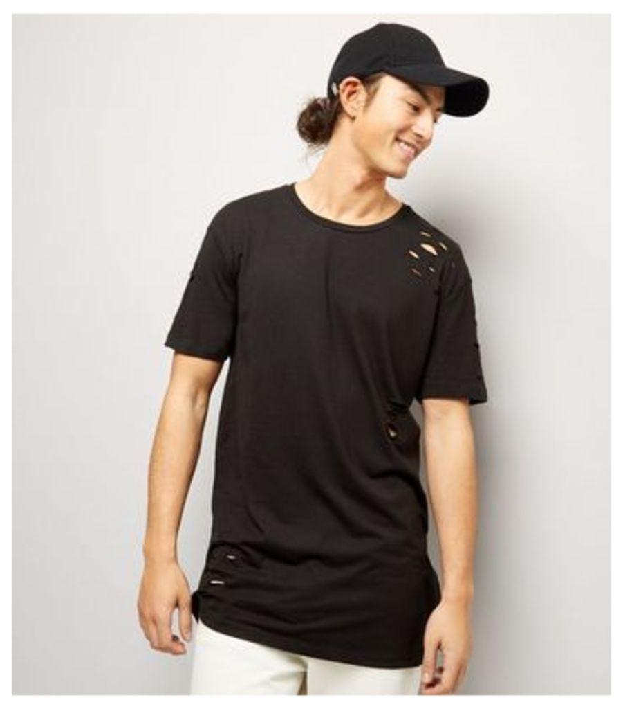 Black Ripped Longline T-Shirt