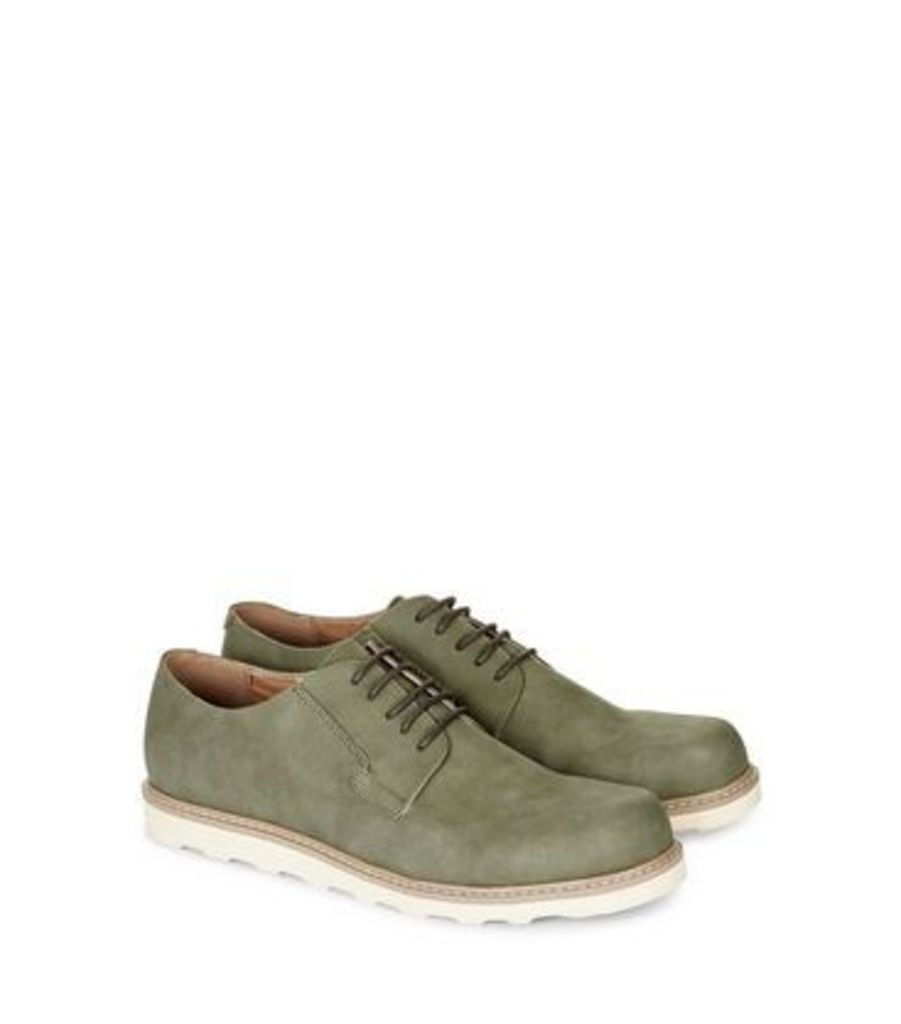 Olive Green Suedette Contrast Sole Derby Shoes