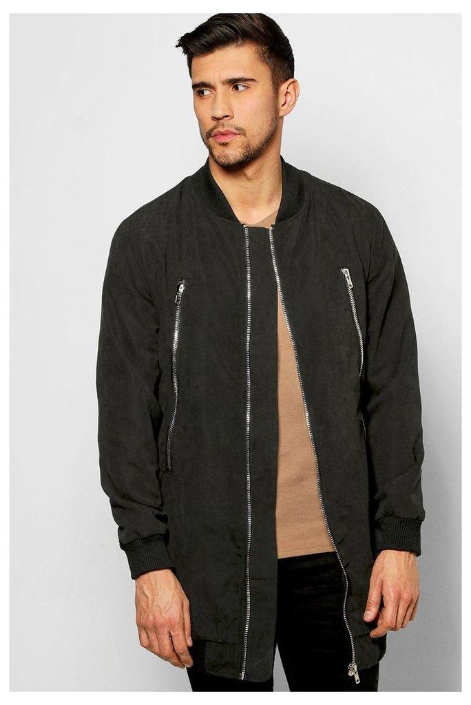 Woven Zipped Longline Bomber Jacket - black