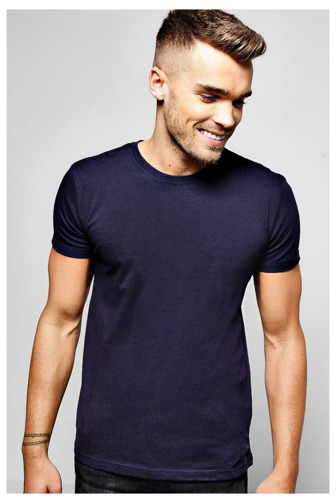 Neck T-Shirt With Rolled Sleeve - navy