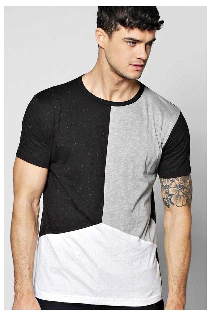 Line Step Hem Nepp Splice T-Shirt - black