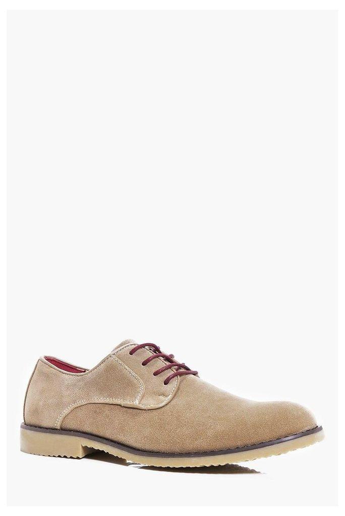 Suede Derby Shoes - beige