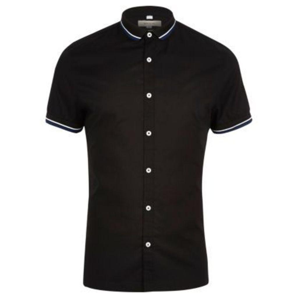River Island Mens Black ribbed collar slim fit shirt