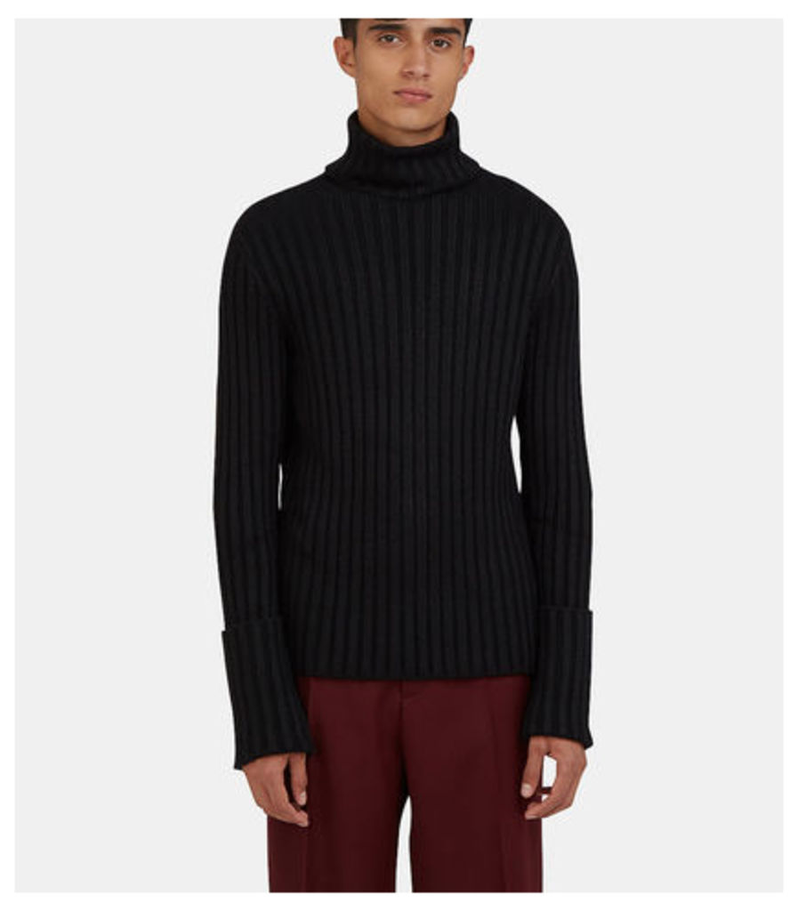 Roll Neck Ribbed Knit Sweater