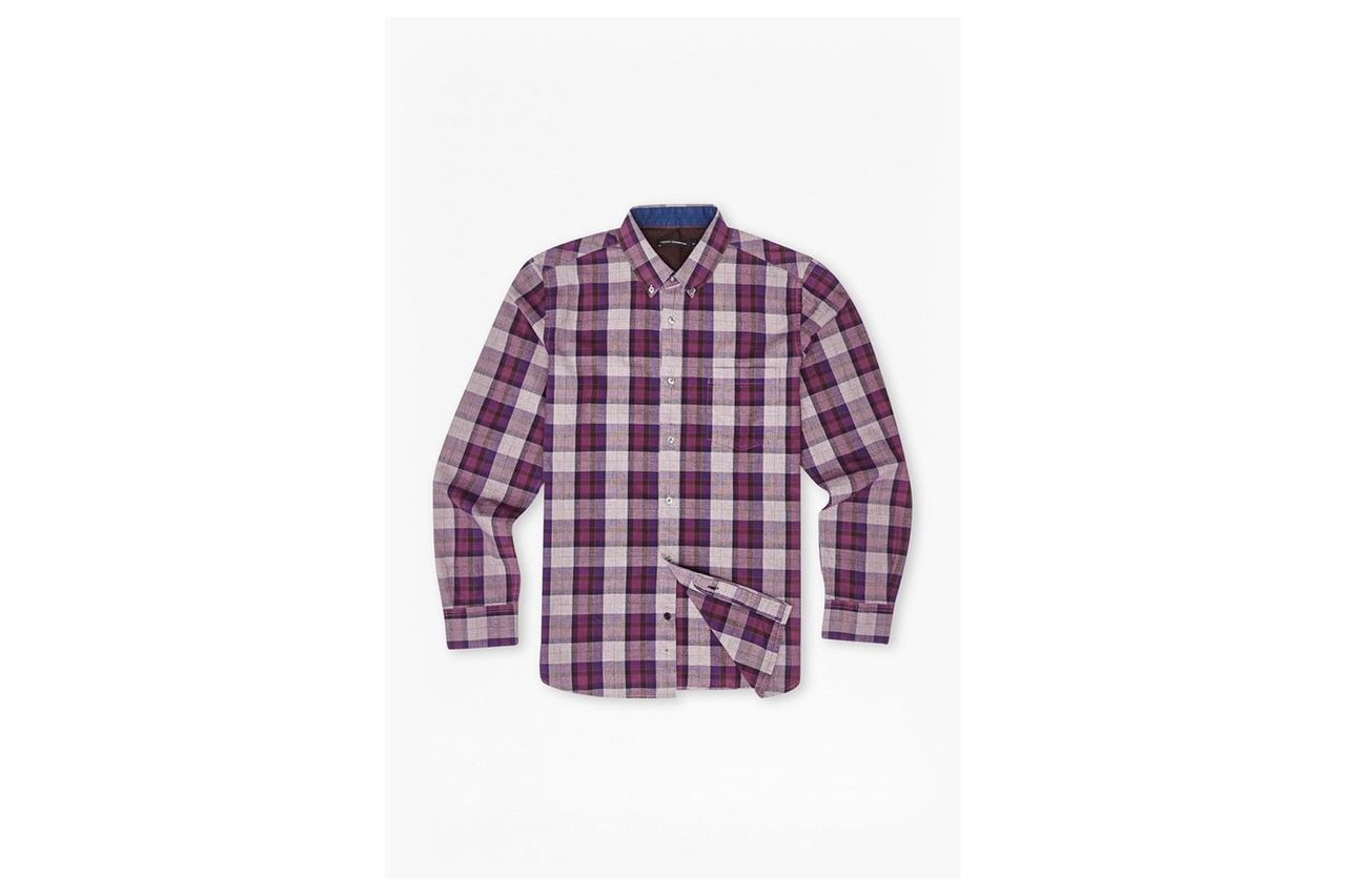 Scattered Poems Plaid Shirt - gothic grape
