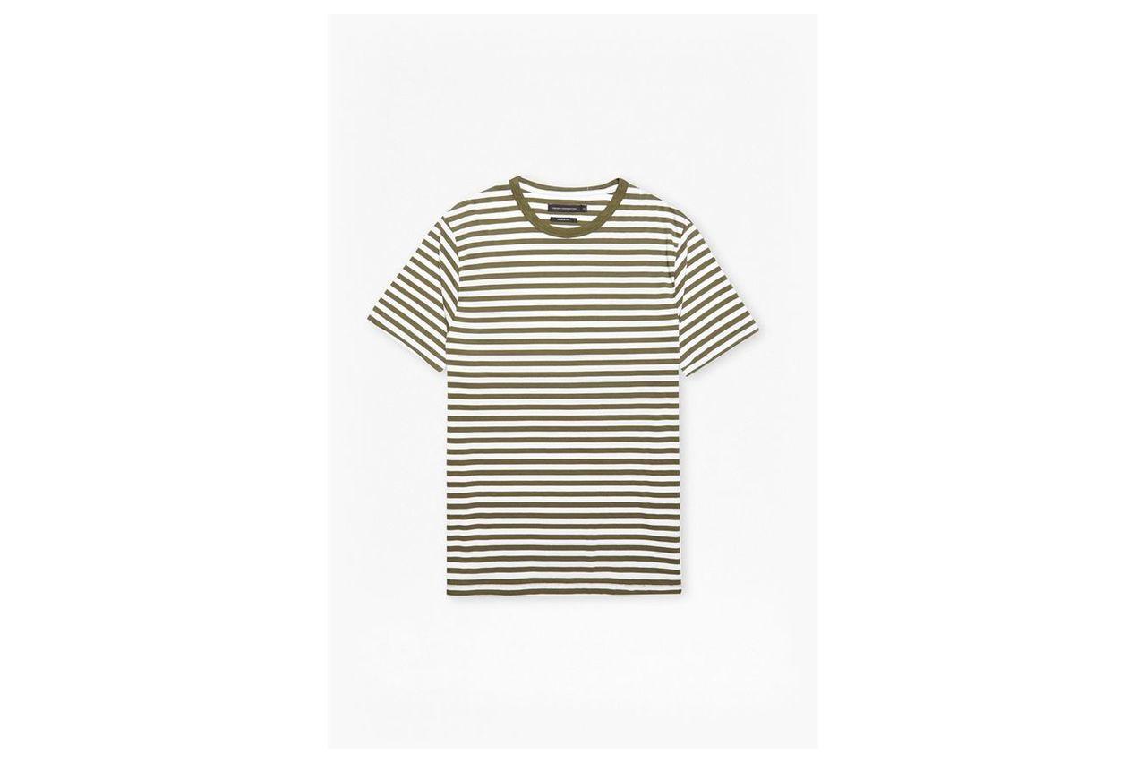 Striped Crew Neck T-Shirt - tarmac/white