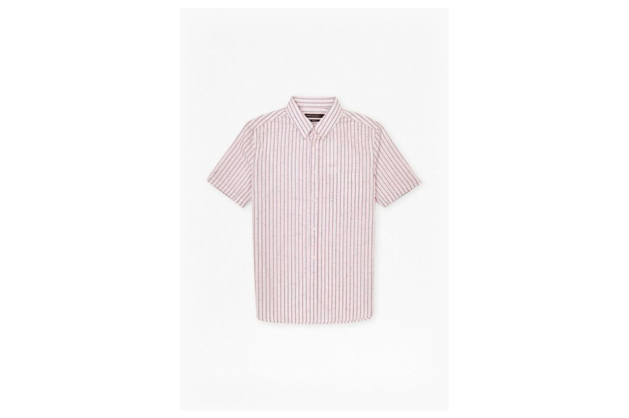 Volley Stripe Connery Short Sleeve Shirt - carnival pink
