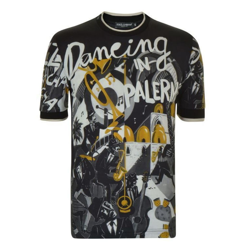 DOLCE AND GABBANA Printed Crew Neck T Shirt