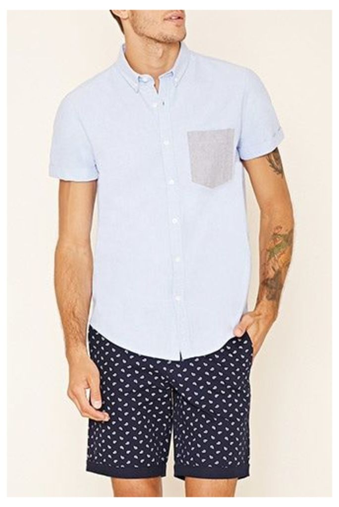 Contrast-Pocket Cotton Shirt