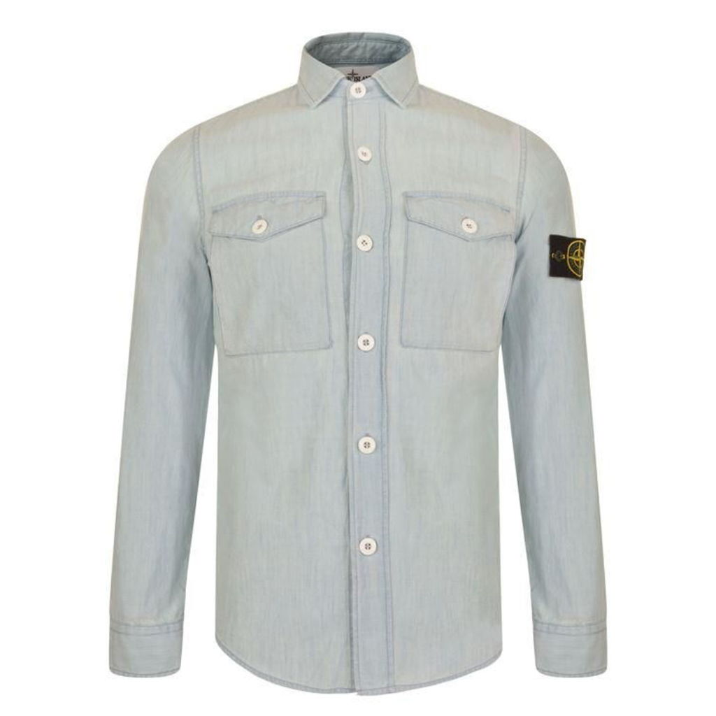 STONE ISLAND Bleached Denim Shirt