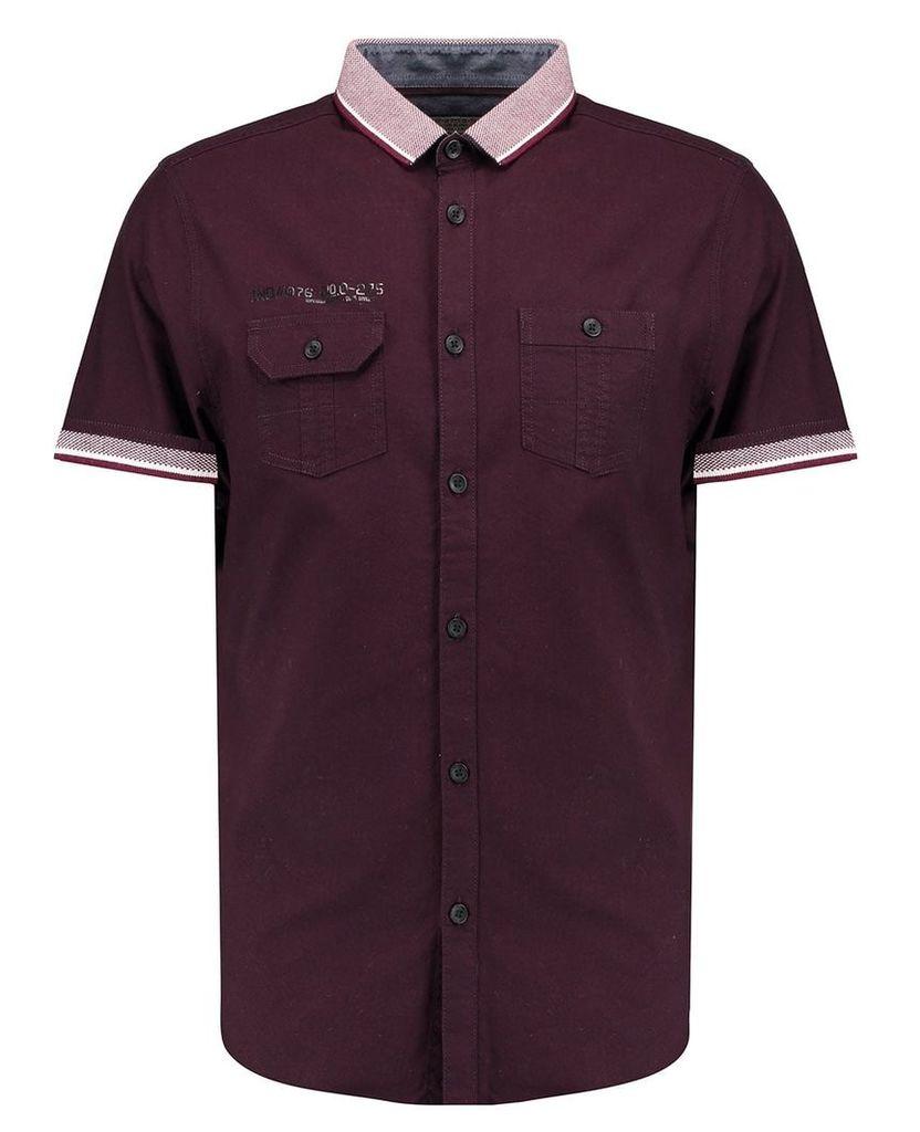 Men's Blue Inc Burgundy Short Sleeve Rib Coded Shirt, Red
