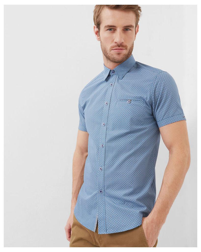 Ted Baker Geo print cotton poplin shirt Blue